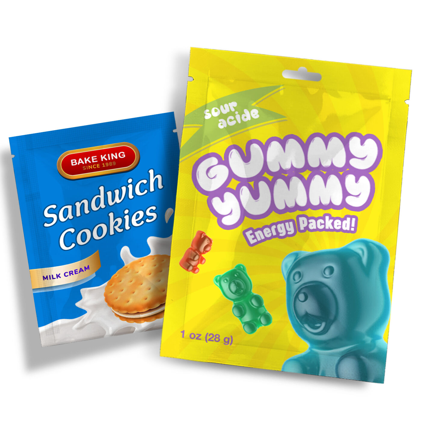 flat pouches for candies and powdered drinks